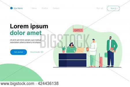 Man Checking In For Flight Vector Illustration. People Standing In Gate Registration Desk In Airport
