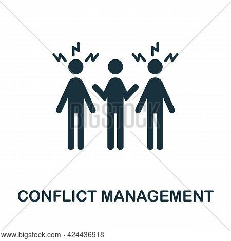Conflict Management Icon. Monochrome Simple Element From Soft Skill Collection. Creative Conflict Ma