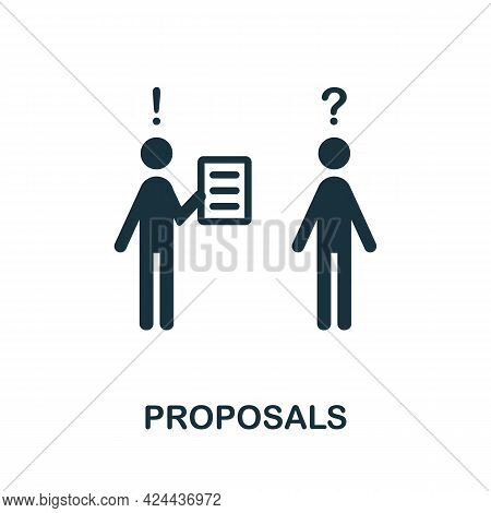 Proposals Icon. Monochrome Simple Element From Soft Skill Collection. Creative Proposals Icon For We