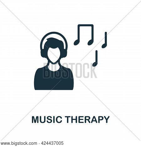 Music Therapy Icon. Monochrome Simple Element From Therapy Collection. Creative Music Therapy Icon F