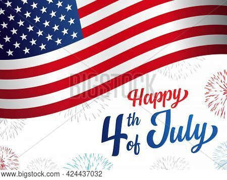 Happy 4th Of July Usa Independence Day Greeting Card With Waving American National Flag, Fireworks A