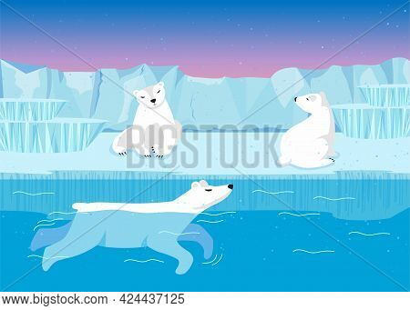 Cute Polar Bear Characters Swimming And Sitting On Iceberg. White Arctic Animals In Water And On Gla