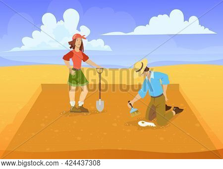 Man And Woman Excavating In Desert. Cartoon Vector Illustration. Archaeologists With Brush, Shovel S