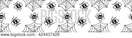 Seamless Pattern With Spiders And Cobweb. Vector Illustration Isolated On White Background. Hallowee