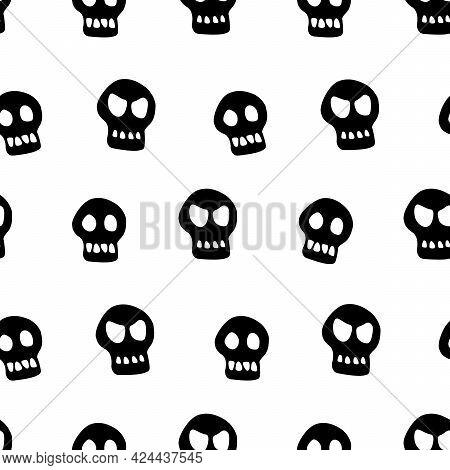 Seamless Pattern With Skulls. Primitive Cartoon Flat Style. Background And Texture On Theme Of Hallo