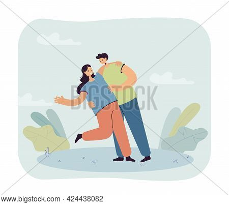 Boyfriend Holding Girlfriend Romantically. Happy Couple, Male And Female Characters On Date Flat Vec