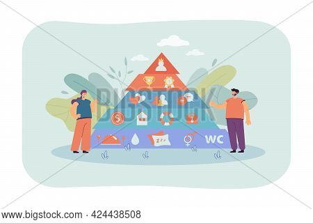 Tiny People With Maslow Pyramid Of Basic Needs. Self-actualization, Growth, Love, Wellness And Physi