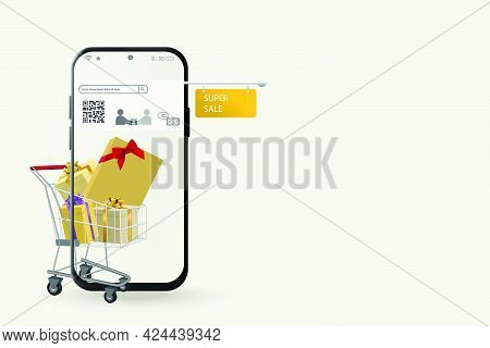 Shopping Online Concept On Mobile Application In Digital Marketing By Mobile Phone With Shopping Car