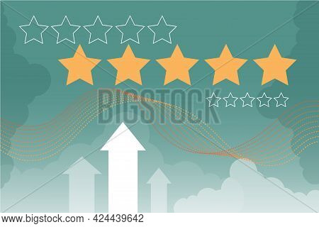 Rating Five Stars Abstract Vector Illustration On Blue Bakground For Site. User Feedback, Review Web