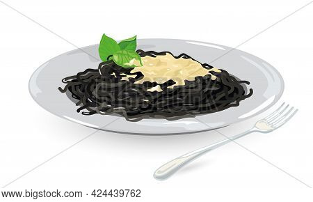 Cartoon Of Black Squid Ink Pasta With Topping And Leaves Of Basil. Vector Veggie Macaroni Served In