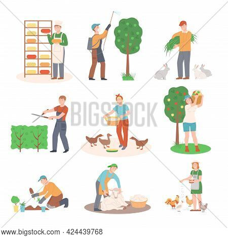 People Farmer Characters Feeding Livestock, Harvesting And Doing Garden Work Vector Illustration Set