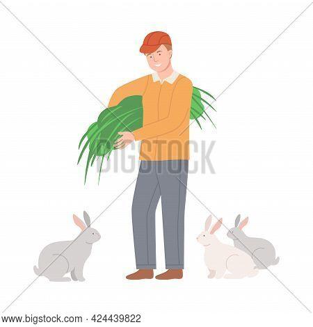 Happy Male Farmer Feeding Hare With Green Grass Vector Illustration
