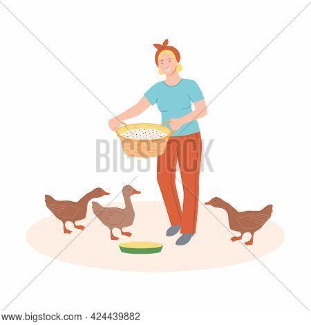 Woman Farmer Feeding Goose With Grain Vector Illustration