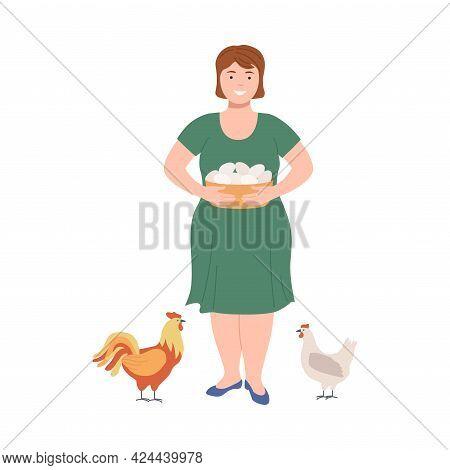 Happy Female Farmer Gathering Fresh Eggs From Hen Vector Illustration