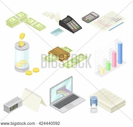 Financial Accounting With Summary, Analysis, Statement And Business Transaction Report Isometric Vec