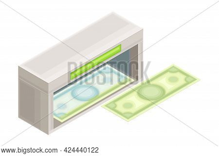 Currency-counting Machine With Dollar Banknote As Financial Accounting And Summary Isometric Vector