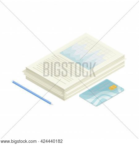 Paper Documents With Financial Statement And Plastic Card As Accounting Data And Summary Isometric V