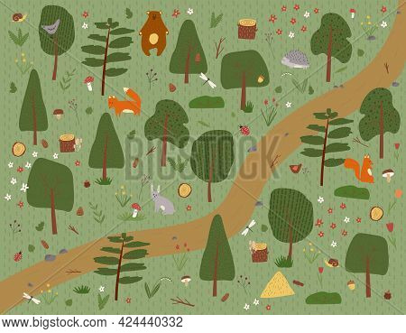 Hand Drawn Vector Illustration Of Green Nature Summer Forest Park Landscape Background With Trees, F