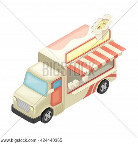 Van As Outdoor Food Court Or Food Vendor Selling Chinese Noodle Isometric Vector Illustration