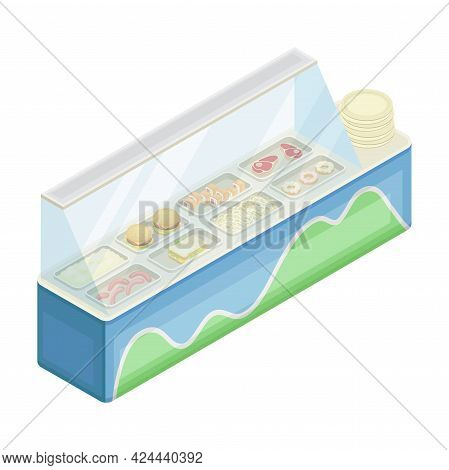 Indoor Food Court Or Food Vendor Selling Lunch And Dinner Isometric Vector Illustration