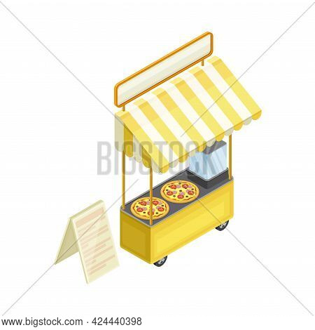 Pizza Counter As Outdoor Food Court Or Food Vendor Selling Savory Pastry Isometric Vector Illustrati