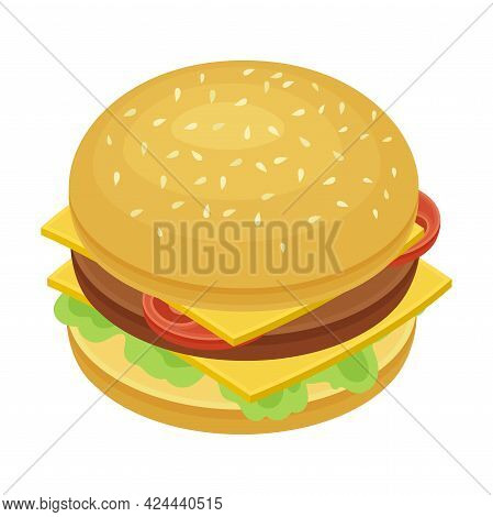 Hamburger As Sandwich With Cooked Patty Inside Sliced Bun Isometric Vector Illustration