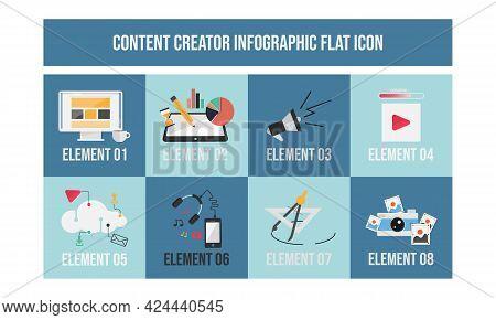 Flat Design Concept Of Content Creator Illustration. Modern Flat Design Concept Of Freelancer Blogge