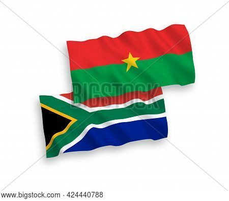 National Fabric Wave Flags Of Burkina Faso And Republic Of South Africa Isolated On White Background