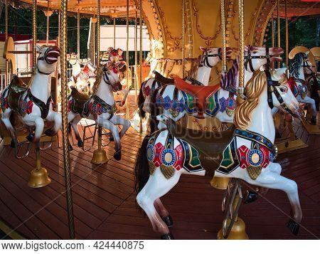 Gomel, Belarus - June 18, 2021: Amusement Park Children Ride The Carousel