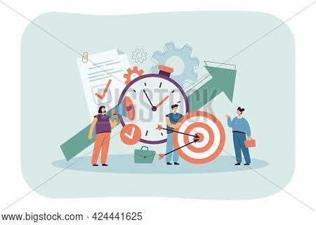Tiny People With Clock, Checklist And Target. Productive Cartoon Characters Achieving Goal Flat Vect