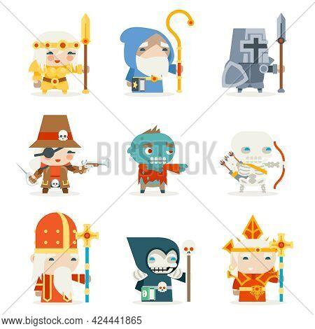Set Fantasy Rpg Game Heroes Villains Character Minions Vector Icons Design Flat Vector Illustration