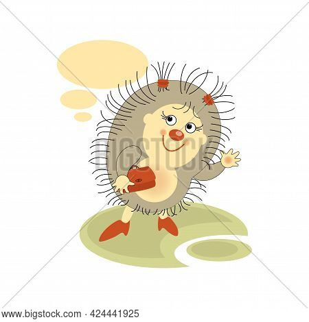 Cute Hedgehog Girl Holding Handbag. Sticker, Badge With Quote. Lovely Happy Funny Character.