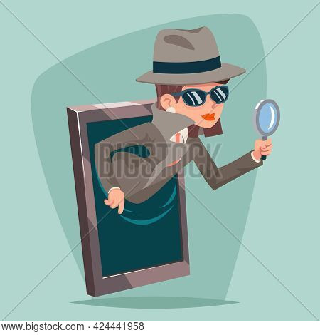 Woman Snoop Detective Magnifying Glass Tec Agent Online Mobile Phone Cartoon Design Vector Illustrat