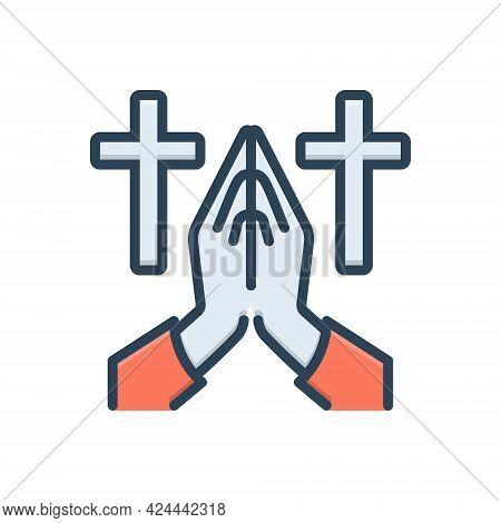 Color Illustration Icon For Invocation Salutation Glorification Idealization