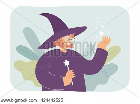 Female Wizard Holding Magic Wand. Girl Wearing Witch Hat, Stars In Hand Flat Vector Illustration. Fa