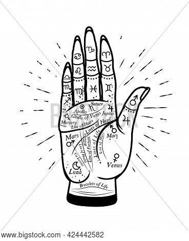 Palmistry Mystic Hand. Vector Graphic Hand Illustration With Mystic And Occult Symbols.