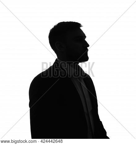 Silhouette Of Anonymous Man On White Background