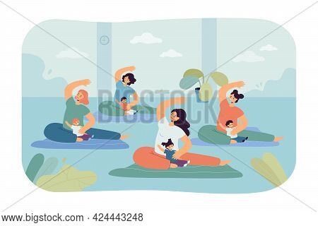 Women Doing Yoga With Babies. Flat Vector Illustration. Group Of Mothers Exercising With Children In