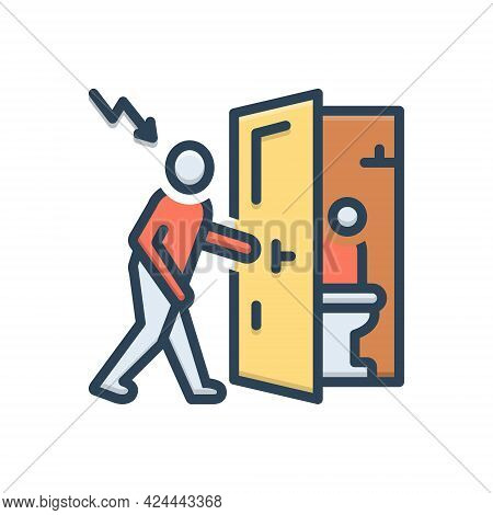 Color Illustration Icon For Inroad Invasion Aggression Interference Intrusion Toilet