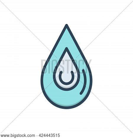 Color Illustration Icon For Drop Blob Droplet Drip Driblet
