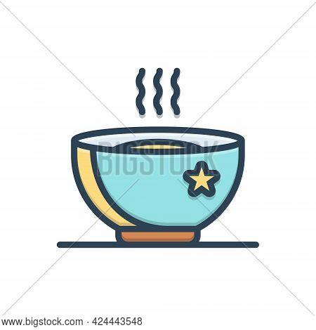 Color Illustration Icon For Hot Soup Warm Snug Torrid Sizzling