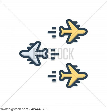Color Illustration Icon For Individualization Airplane Forward Backwards Opposite Direction