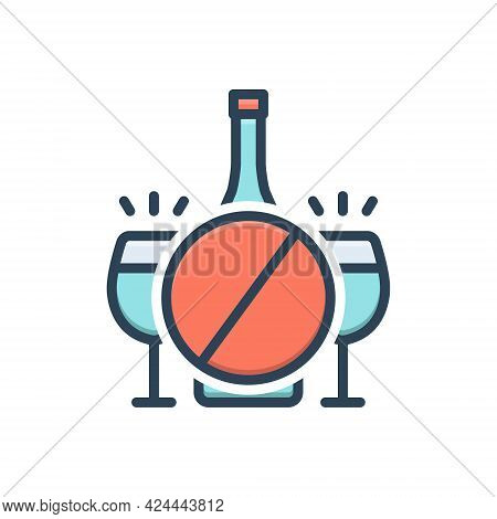 Color Illustration Icon For Inhibition Prohibition Taboo Ban Sanction Moratorium