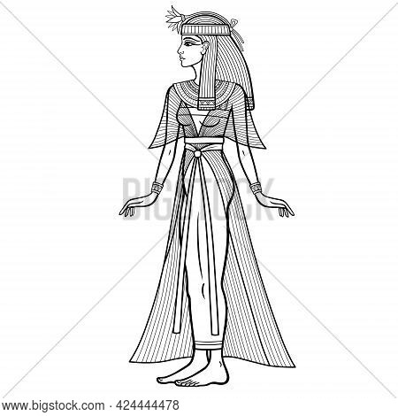 Animation Linear Portrait: Beautiful Egyptian Woman In Ancient Clothes With A Flower On The Head. Fu