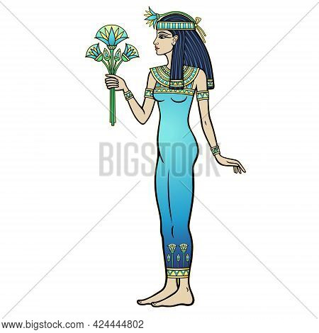 Animation Color Portrait: Beautiful Egyptian Woman Stands With A Bouquet Of Flowers In Hand. Full Gr