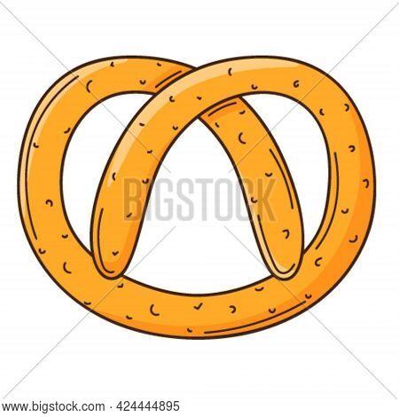 Pretzel. Bakery Product. Food Design Element With Outline. Doodle, Hand-drawn. Flat Design. Color Ve