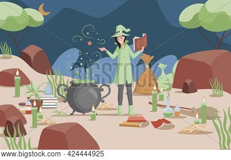 Smiling Woman In Witch Hat And Green Coat Preparing Magic Poison Using Book Vector Flat Illustration