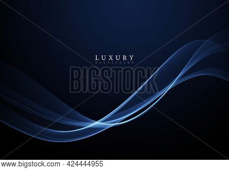 Abstract Shiny Color Blue Wave Design Element On Dark Background.