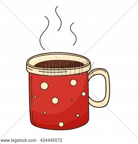 A Cup Of Hot Tea Or Coffee, Cocoa. A Hot, Invigorating, Morning Drink. Design Element With Outline.