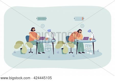 Active Or Exhausted Woman Working In Office. Flat Vector Illustration. Set Of Office Girl Full Of En